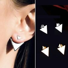 Fashion Women Simple Geometric Figure Triangle Gold Silver Ear Stud Earrings Hot