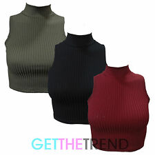 Womens Turtle Neck Crop Top Ladies Ribbed Short Polo High Neck Sleeveless Top