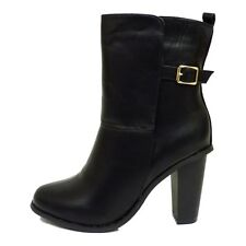 BLACK PLATFORM MID HIGH BLOCK HEEL CHELSEA BIKER ANKLE CALF BOOTS SHOES SIZE 3-8