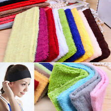 14Colors Women Yoga Gym Terry Cotton Towel Headbands Elastic Sweatband 18*5.5CM