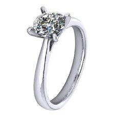 GIA CERTIFIED Round Diamond 4 Claw Solitaire Engagement Ring in 950 Platinum.