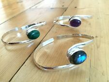 GEMSTONE 925 SOLID SILVER BANGLE BRACELET LABRADORITE AMETHYST MALACHITE