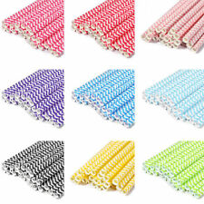 25Pcs Paper Drinking Straws Decor Wedding Party Drink Supply Chevron Striped
