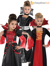 Ages 4-10 Girls Vampire Queen Vampiress Costume Kids Halloween Fancy Dress Party