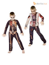 Age 6-12 Boys 3D Zombie Skeleton Costume Kids Childrens Halloween Fancy Dress