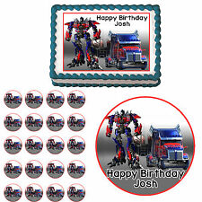 Transformers Optimus Prime truck Edible Birthday Cake Cupcake Party Topper
