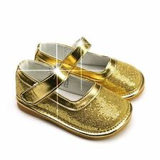 Freycoo Girls Squeaky Party Shoes Glitter Sparkle Infant Baby Toddler Gold