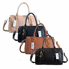 Ladies Womens Quilted Faux Leather Shoulder Satchel Handbag Gift Bag