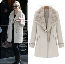 New Womens Wool Fur Collar Thicken Winter Parka Long Trench Coat Jacket Outwear