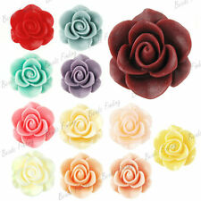 21x21mm Resin Vintage Style Rose Flower Cabochons Flatback Fit Necklace Charms