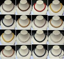 Fashion New 14MM Natural Round South Sea Shell Pearl Pendant Necklace AAA