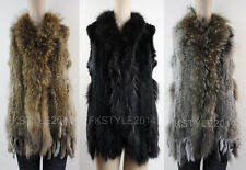 Long Women Knit Real Rabbit Fur Raccoon Fur Collar Vest Gilet Fur Coat