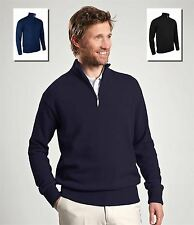 Glenmuir Mens Zip Neck Sweater 100% Lambswool Casual or Golf Jumper Top New