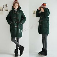 Womens Winter Warm Wool Coat Jacket Hooded Parka Duffle Coat Outwear Overcoat SZ