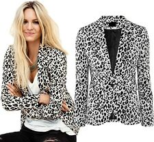 Fashion Women One Button Leopard Casual Business Outwea Blazer Suit Jacket Coat