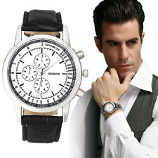Geneva Casual Business Dress Dial Leather Band Analog Quartz Wrist Watch Men
