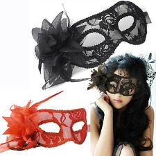 Lady Black White Red Clear Lace Rose Flower Face Eye Masks Cover Party Halloween