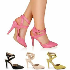 WOMENS LADIES HIGH HEEL COURT SHOES CROSS STRAP ANKLE STRAPPY PATENT SANDALS