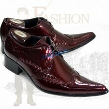 Stylish Mens Leather Pointed Oxfords Shoes British Wing Tip Business Dress Shoes