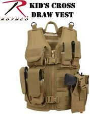 Kid's Cross Draw Tactical Vest Coyote Brown MOLLE Tactical Vest 5293