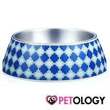 Gummi Pet Products Marrakesh Blue Dog Feeding Bowl Small Medium Large Dog Cat Pu