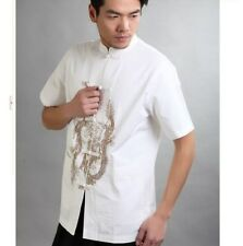 Chinese Men's Cotton Dragon embroidery Kung Fu Shirt Tops White Sz: M L XL XXL