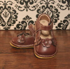 Brown Three Flower Girls Mary Jane Squeaky Shoes, Sizes 3 4 5 6 7 8 9