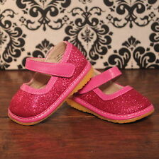 Hot Pink Sparkle Girl Mary Jane Sparkly Squeaky Shoes, Size 3 4 5 6 7 8 9