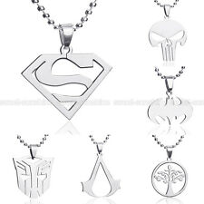 Anime Super Hero Charming Stainless Titanium Steel Silver Pendant Necklace Charm