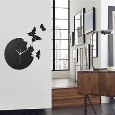 1 New Wall Clock Decor Home Art Design Modern Style Time Large Butterfly Xmas