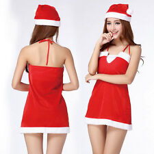 Christmas Party Red Cute Sexy Women's Cosplay Uniform Halloween Costume Dress