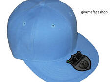 Ethos Fitted Hat Cap Brand New Plain Flat Peak Sky