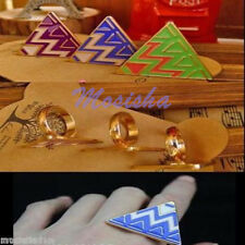 Gold Tone Enamel Triangle Geometry Finger Ring Egypt Collocation Fashion Jewelry