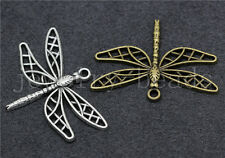 5/20/100pcs Tibetan Silver Beautiful Dragonfly Jewelry Charms Pendant 35x25mm