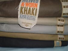 DOCKERS MENS TROUSERS (Pack of 2 Pants) D2 LIVED &WORN KHAKI CHINOS STRAIGHT Fit