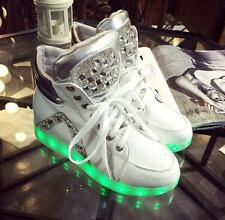 Womens Night Light LED Lace Up Trainer Lace-up Athletic High Top Shoes Sneakers