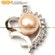 GEM-inside 10-11mm Freshwater Pearl White Gold Plated Heart Frame Pendant