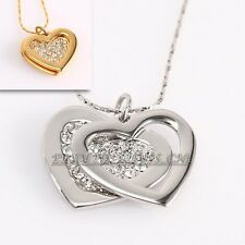 Fashion Rhinestone Love Hearts Necklace Pendant 18KGP Crystal