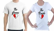 JUST MARRIED HIS AND HERS T-SHIRTS - HALF HEARTS WEDDING - TWO T-SHIRTS S-XXL