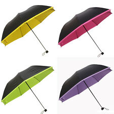 New Lady Folding Umbrella Polka Dot Parasol Colored Inside Rain Umbrella 1PC