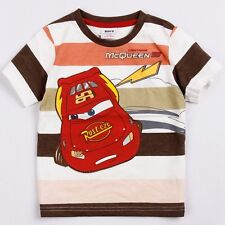 Toddlers boys McQueen cars 100% cotton summer stripes t shirt (18Months-6Years)