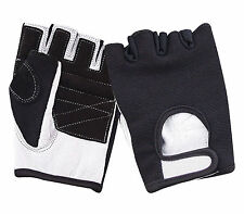 LEATHER FINGERLESS  PADDED RAWHIDE GLOVES BIKE DRIVING CYCLING WHEELCHAIR GYM