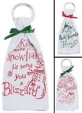 "Kay Dee Krinkle Flour Sack Kitchen Dish Towel w/Ring 100% Cotton 18""x26"" HOLIDAY"