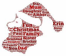 PERSONALISED WORD ART PRINT FATHER CHRISTMAS XMAS PRESENT FAMILY FESTIVE GIFT