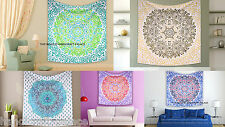 Flower Of Life Ethnic Tapestry Throw Indian Bedspread Hippie Wall Hanging Throw
