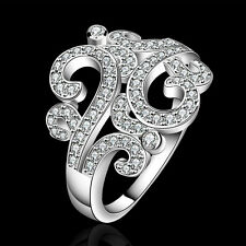 925Sterling Silver Fashion Jewelry Zircon Elegant Flower Woman Ring Size 78 R613