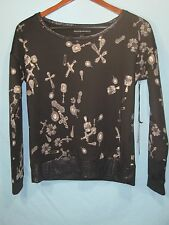 NWT Rock & Republic Women's Black Sweatshirt with Crosses and Safety Pins