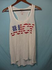 "NWT Juicy Couture White Womens Racer Back Tank Top American Flag "" Juicy """