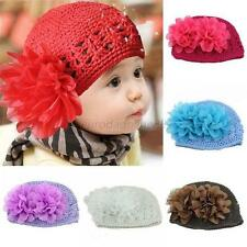 Sweet Baby Boy/Girl Crochet Hat Knitted Hollow Lace Flower Beanie Cap 11 Colors