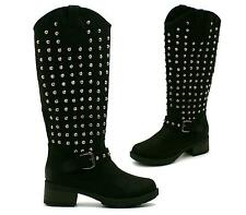 WOMENS LADIES LOW HEEL SILVER STUDDED KNEE HIGH BIKER BOOTS SHOES